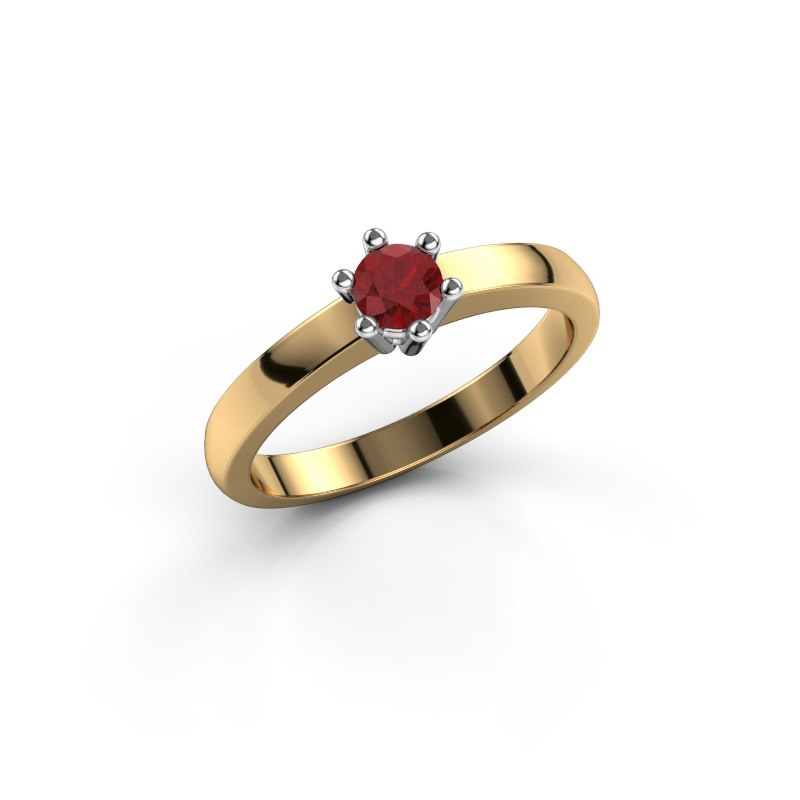 Engagement ring Luna 1 585 gold ruby 3.7 mm