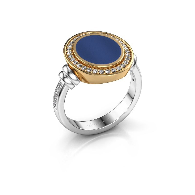Zegelring Servie 2 585 witgoud lapis lazuli 12x10 mm