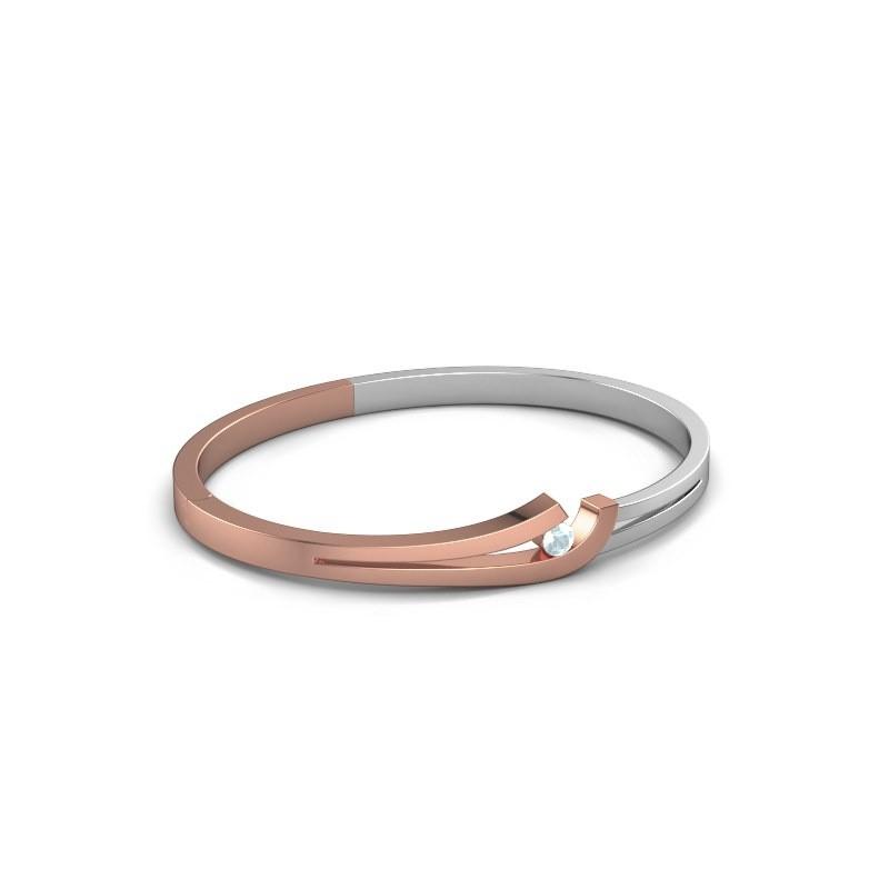 Slavenarmband Yentl 585 rosé goud aquamarijn 3.7 mm