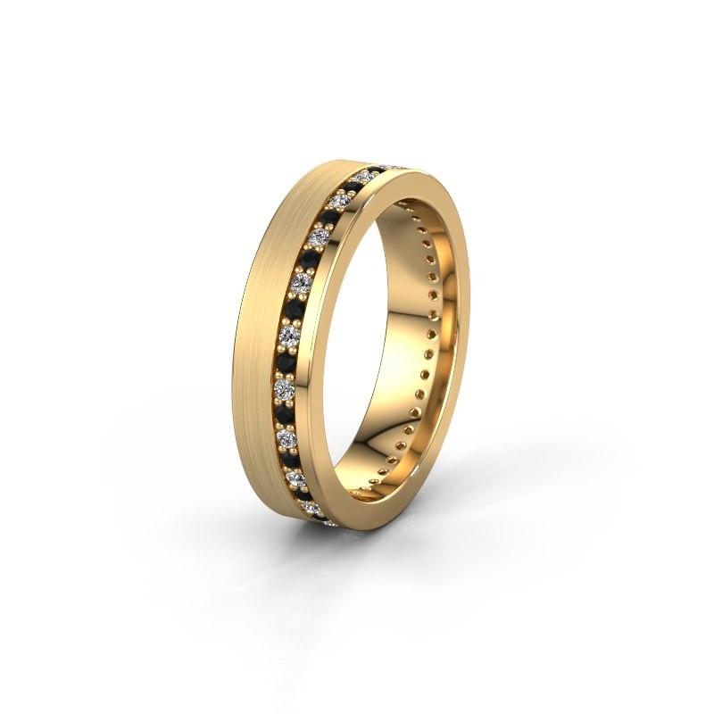 Trouwring WH0303L15BPM 585 goud zwarte diamant 0.484 crt ±5x2 mm