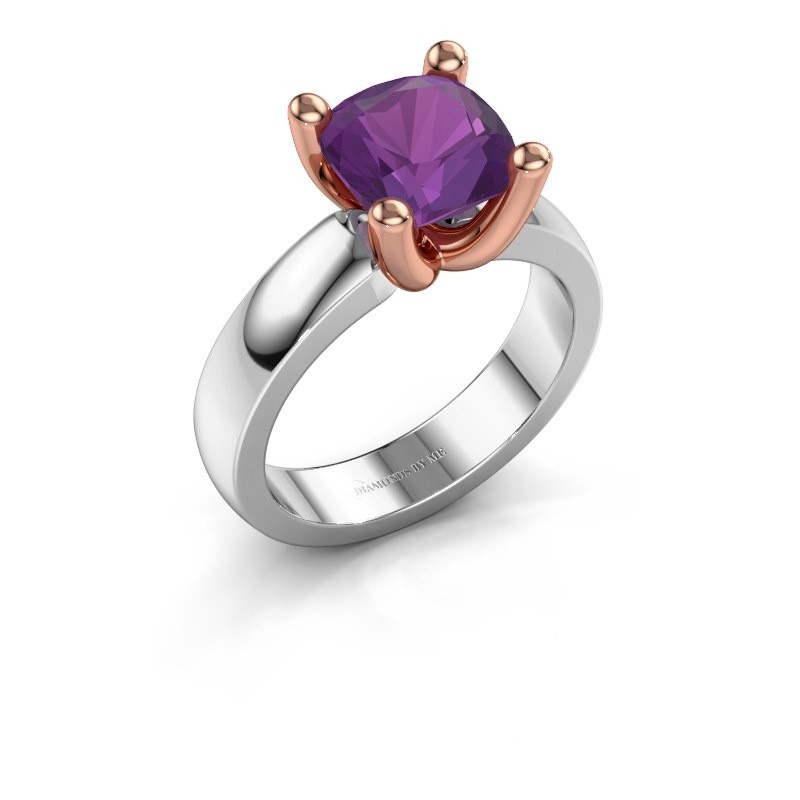 Ring Clelia CUS 585 witgoud amethist 8 mm