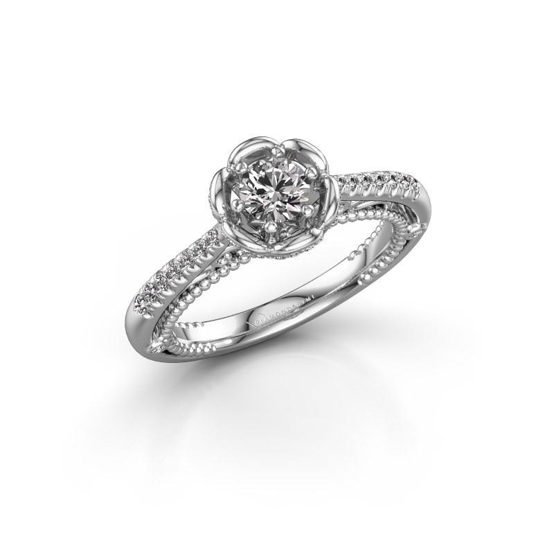 Aanzoeksring Abbey 585 witgoud lab-grown diamant 0.582 crt