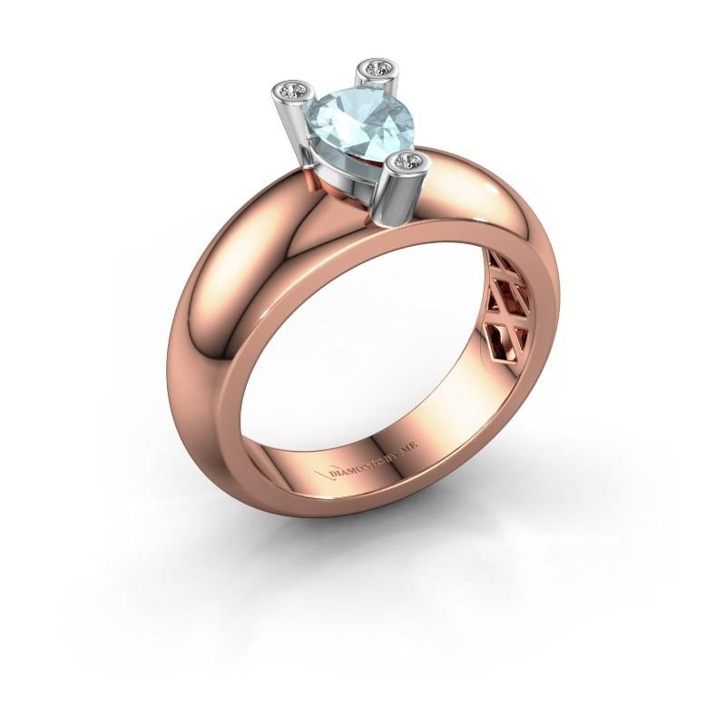 Ring Cornelia Pear 585 Roségold Aquamarin 7x5 mm