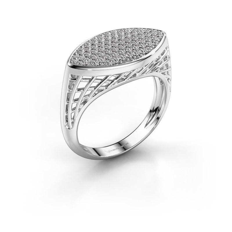 Ring Mireille 950 platina diamant 0.449 crt