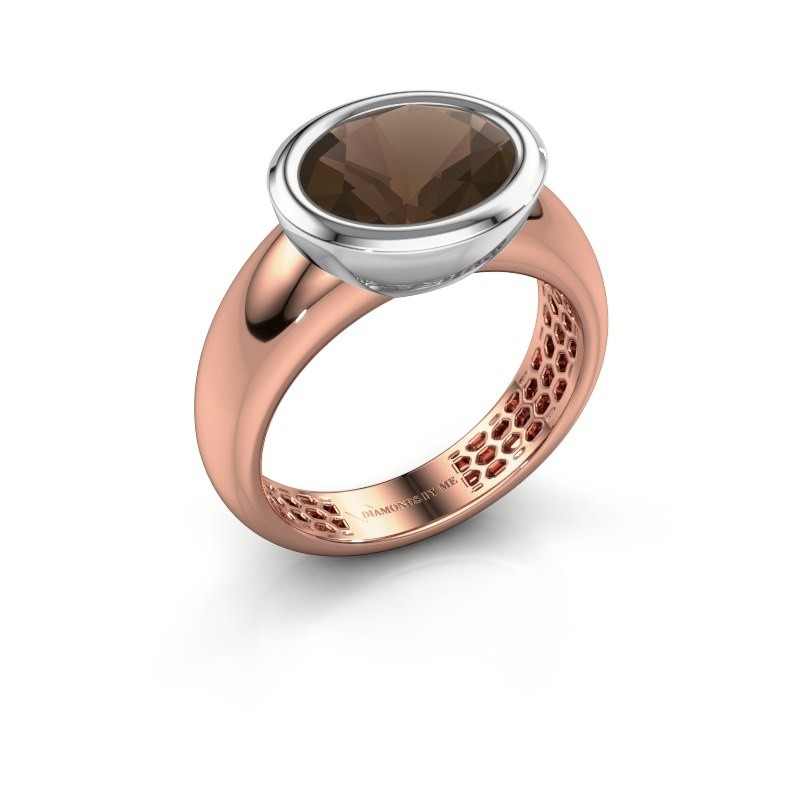 Ring Evelyne 585 rosé goud rookkwarts 10x8 mm