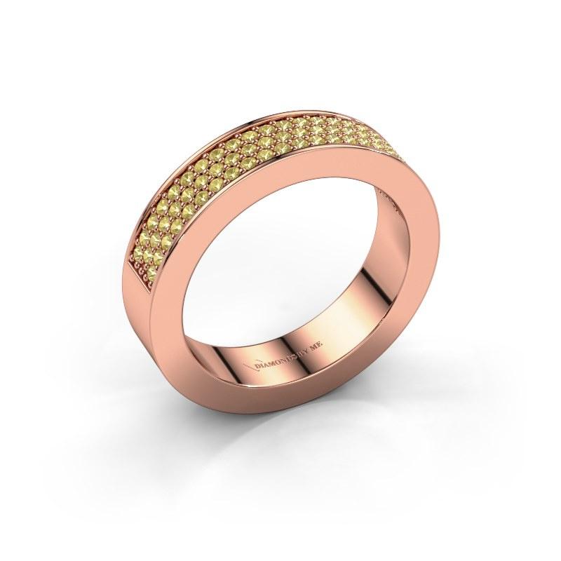 Ring Lindsey 2 585 rosé goud gele saffier 1.1 mm