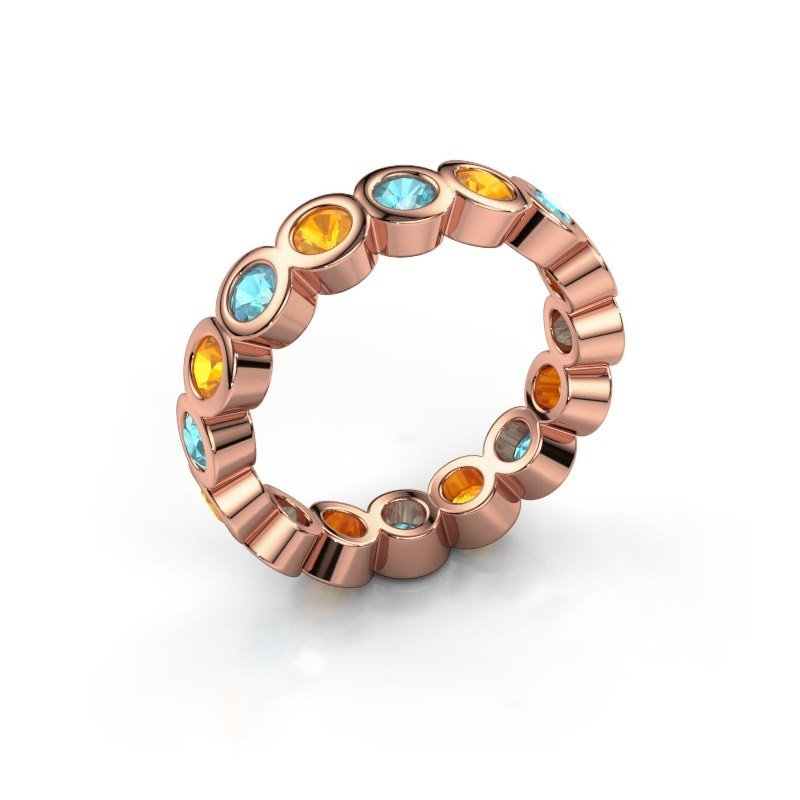 Stackable ring Edwina 3 375 rose gold blue topaz 3 mm