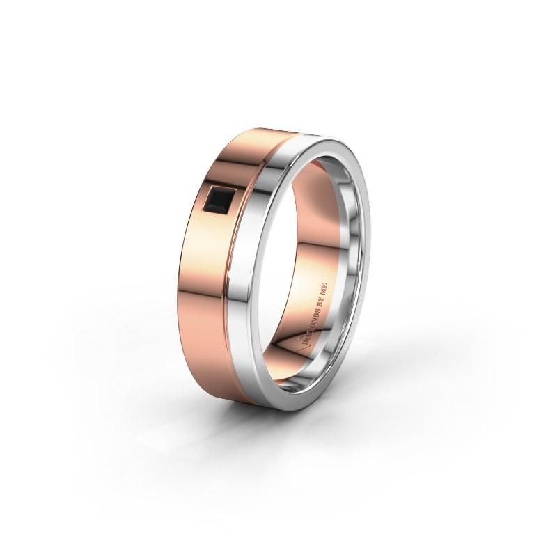 Trouwring WH0301L16APSQ 585 rosé goud zwarte diamant ±6x1.7 mm