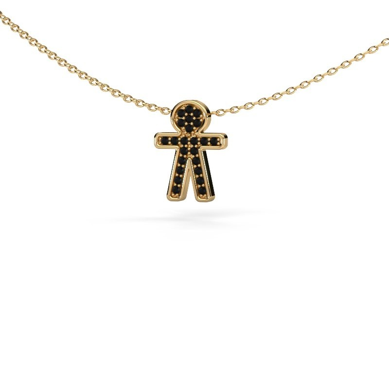 Pendant Boy 375 gold black diamond 0.138 crt