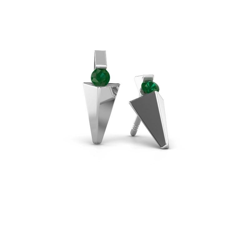 Oorbellen Corina 585 witgoud smaragd 3 mm