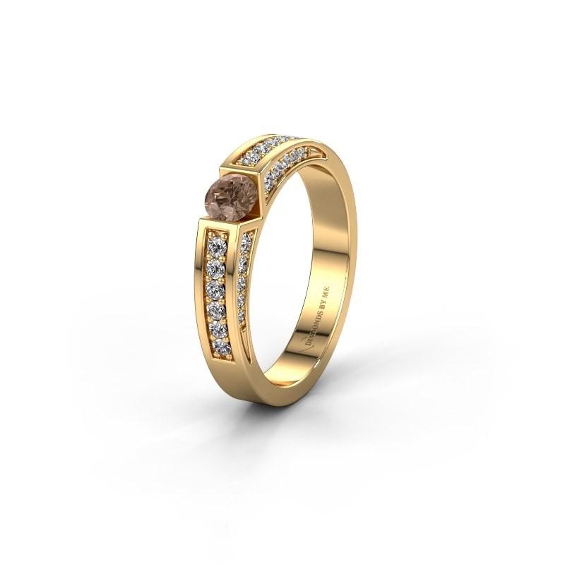 Trouwring WH2098L 375 goud bruine diamant ±4x3 mm