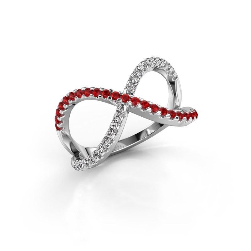 Ring Alycia 2 585 white gold ruby 1.3 mm
