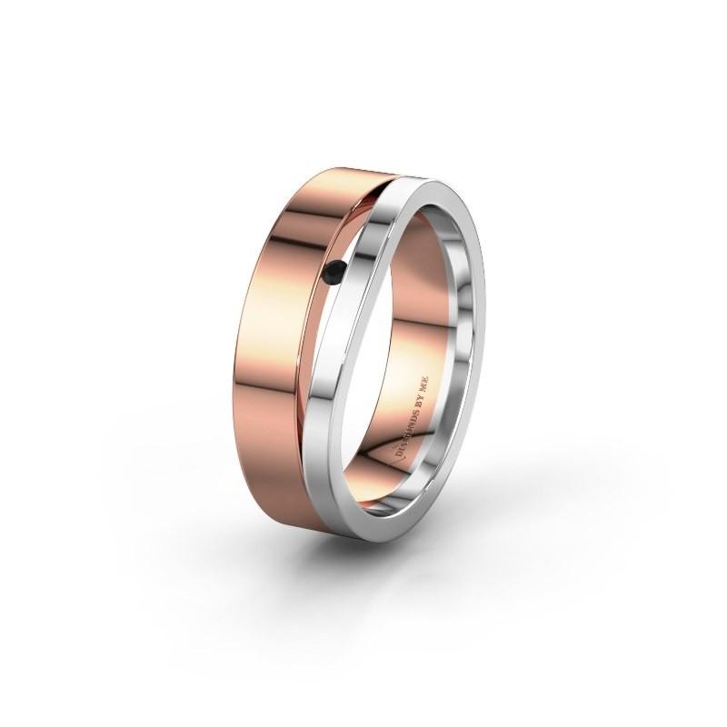 Wedding ring WH6000L16AP 585 rose gold black diamond ±0.24x0.07 in