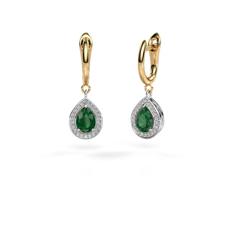 Drop earrings Ginger 1 585 white gold emerald 7x5 mm