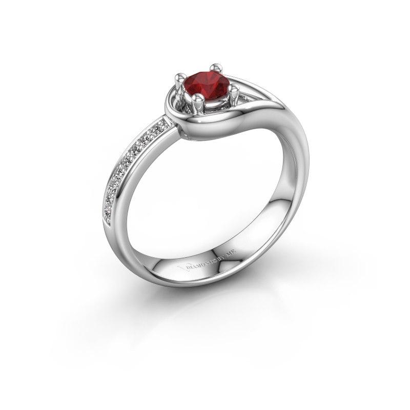 Ring Zara 950 platina robijn 4 mm