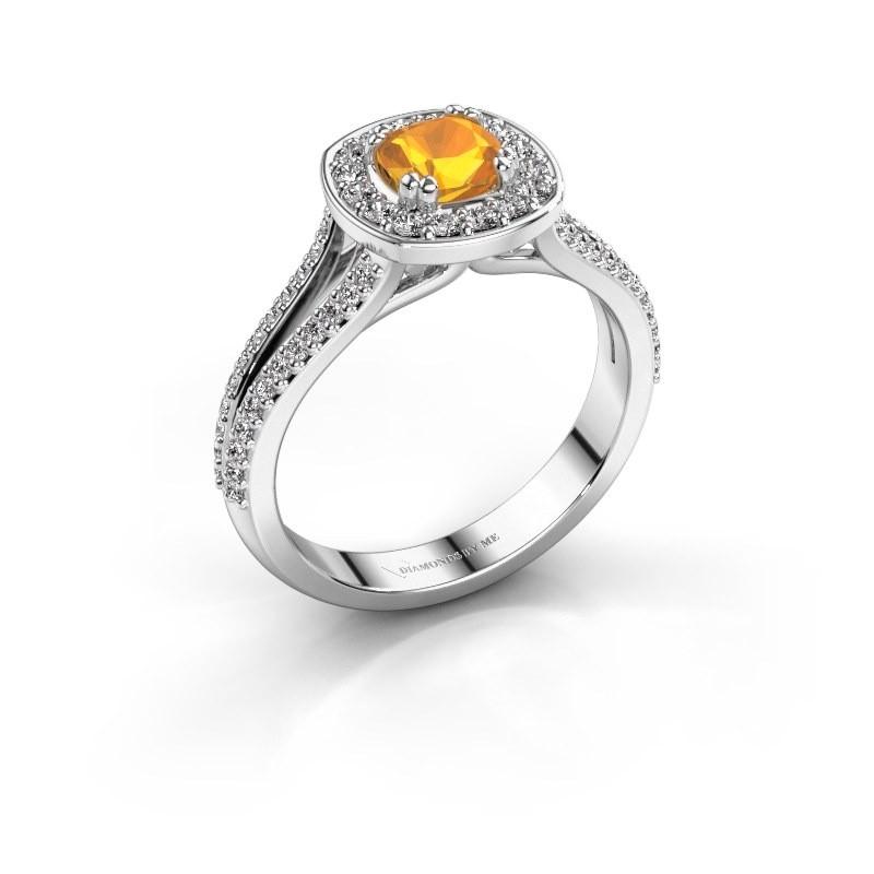 Engagement ring Carolina 2 585 white gold citrin 5 mm