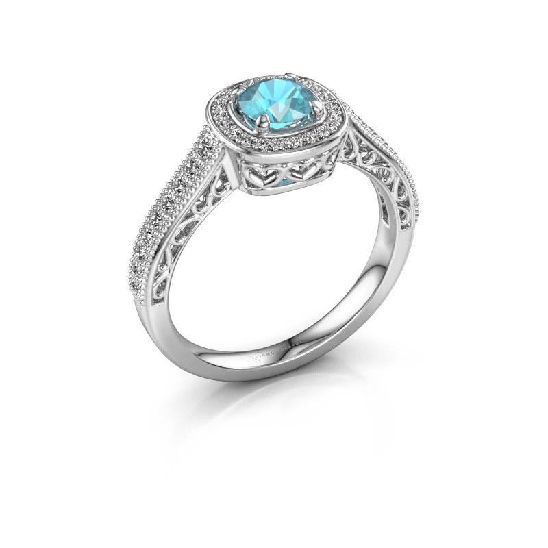 Verlovings ring Candi 585 witgoud blauw topaas 5 mm