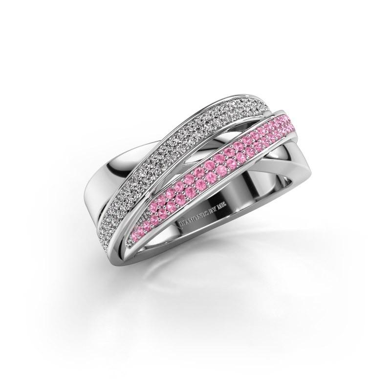 Ring Myra 950 platina roze saffier 1 mm