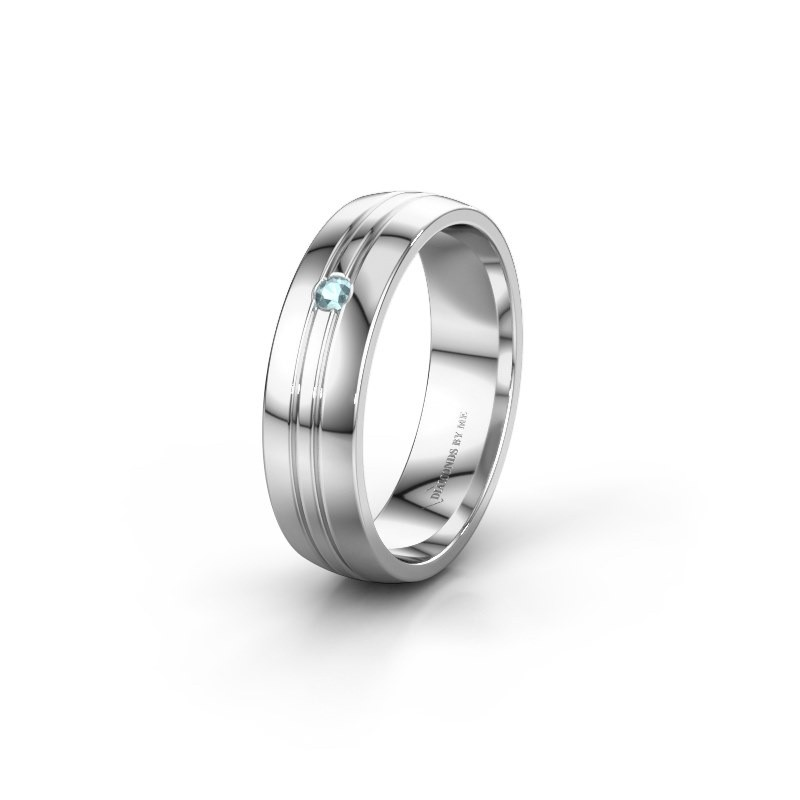 Wedding ring WH0420L25X 585 white gold aquamarine ±5x1.5 mm