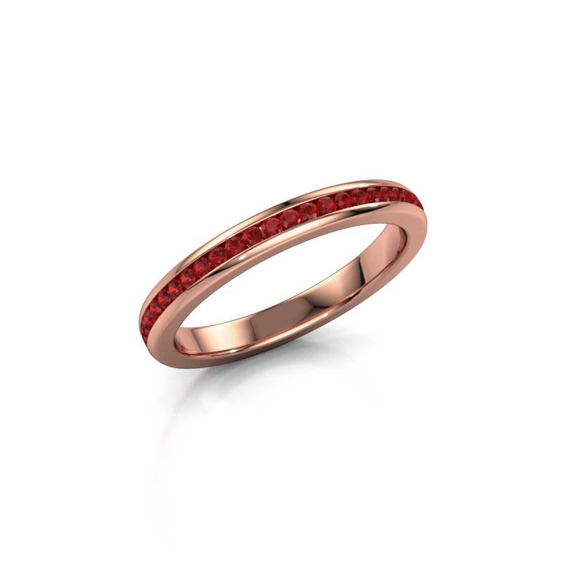 Aanschuifring Lura 1 375 rosé goud robijn 1.3 mm