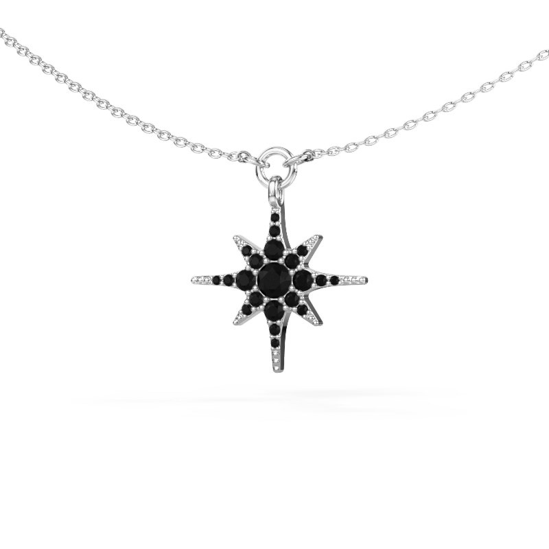 Halsketting Star 925 zilver zwarte diamant 0.348 crt