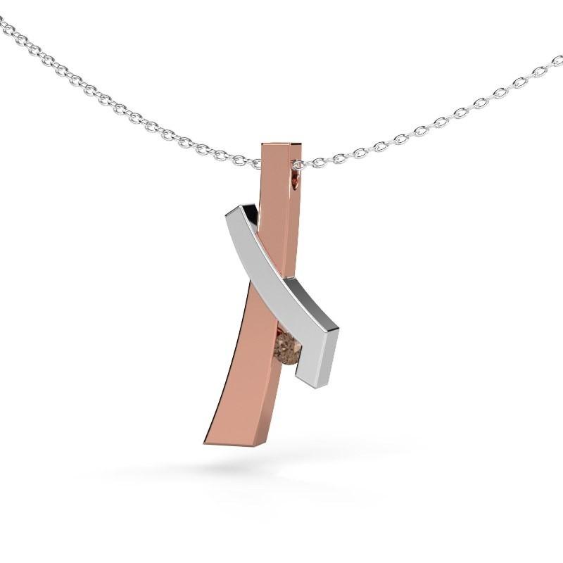 Hanger Alyssa 585 rosé goud bruine diamant 0.08 crt