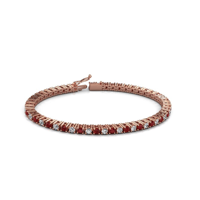 Tennisarmband Karin 3 mm 375 rosé goud robijn 3 mm