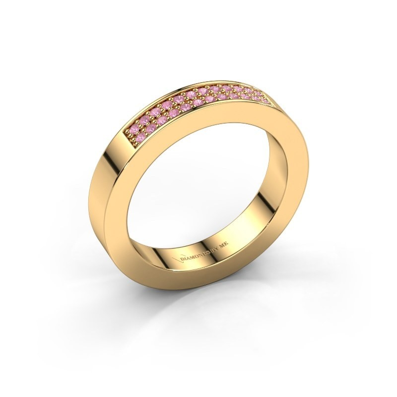 Stackable ring Catharina 1 375 gold pink sapphire 1.1 mm