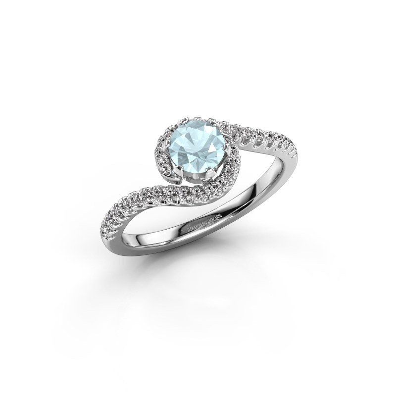 Engagement ring Elli 950 platinum aquamarine 5 mm