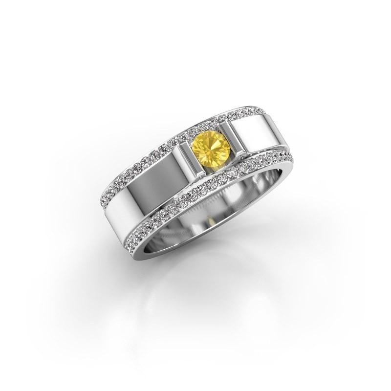 Men's ring Danillo 925 silver yellow sapphire 4.2 mm