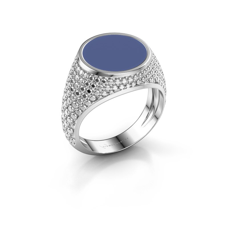 Zegelring Zachary 2 925 zilver blauwe emaille 12 mm