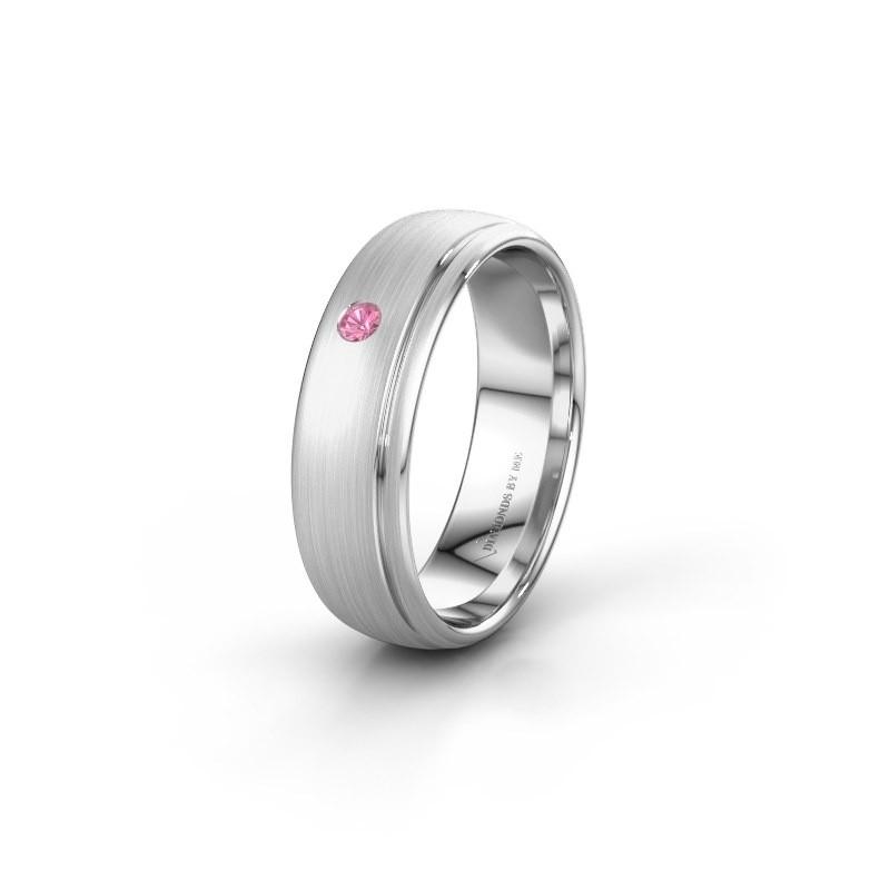 Trouwring WH0501L36AM 950 platina roze saffier ±6x1.7 mm