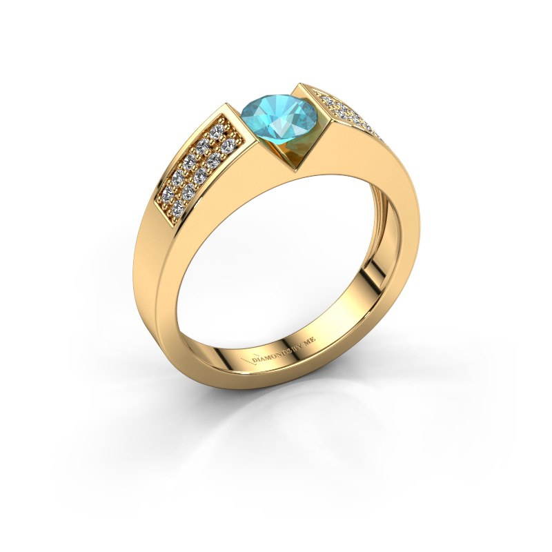 Engagement ring Lizzy 3 585 gold blue topaz 5 mm