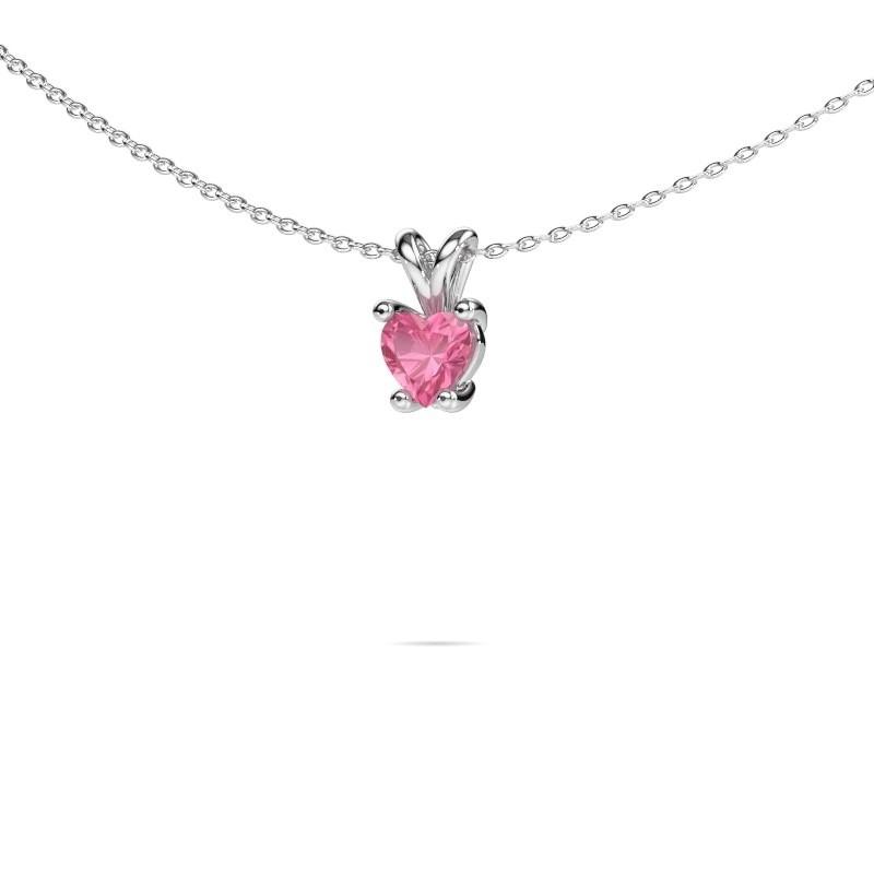 Ketting Sam Heart 925 zilver roze saffier 5 mm