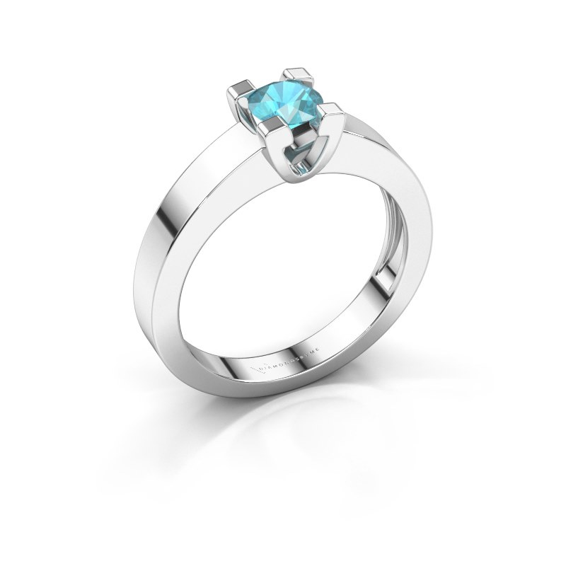 Promise ring Anne 1 585 witgoud blauw topaas 4.7 mm