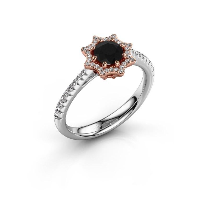 Aanzoeksring Zena 585 rosé goud zwarte diamant 0.830 crt