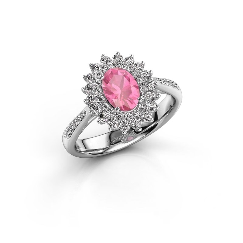 Engagement ring Alina 2 925 silver pink sapphire 7x5 mm