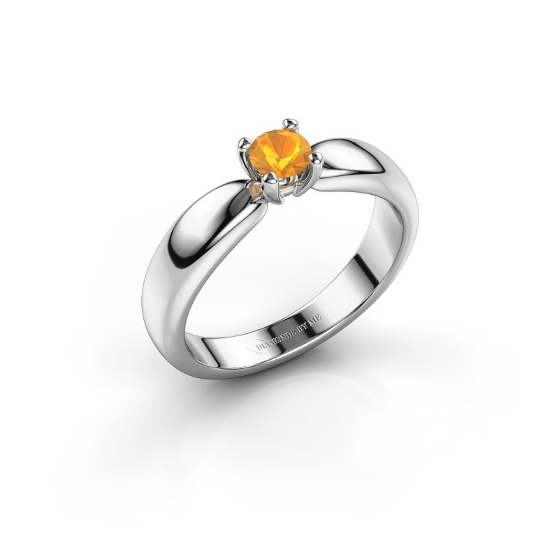 Promise ring Katrijn 585 witgoud citrien 4.2 mm