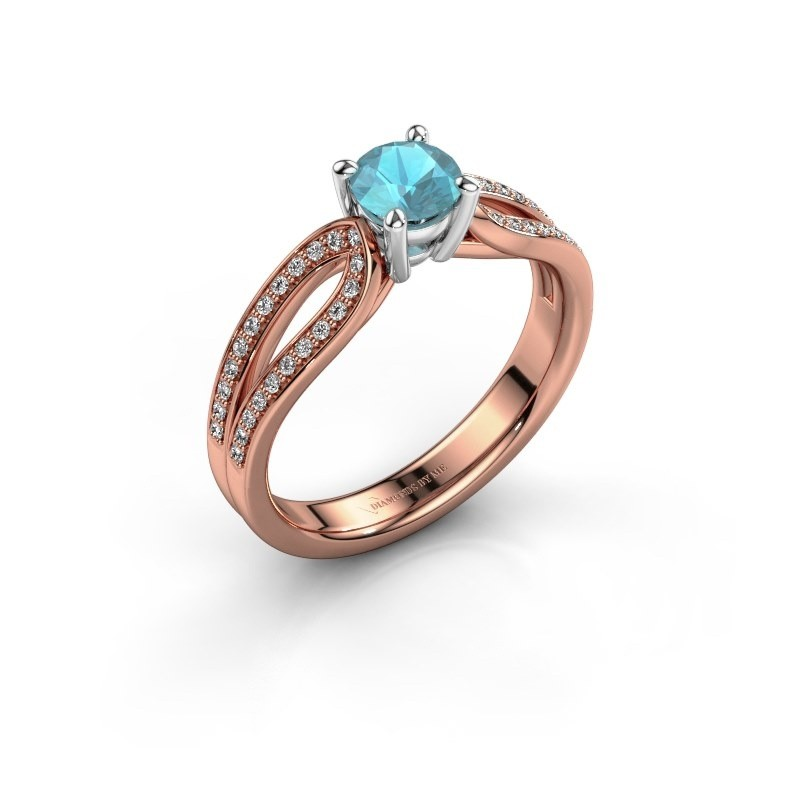 Engagement ring Antonia 2 585 rose gold blue topaz 5 mm