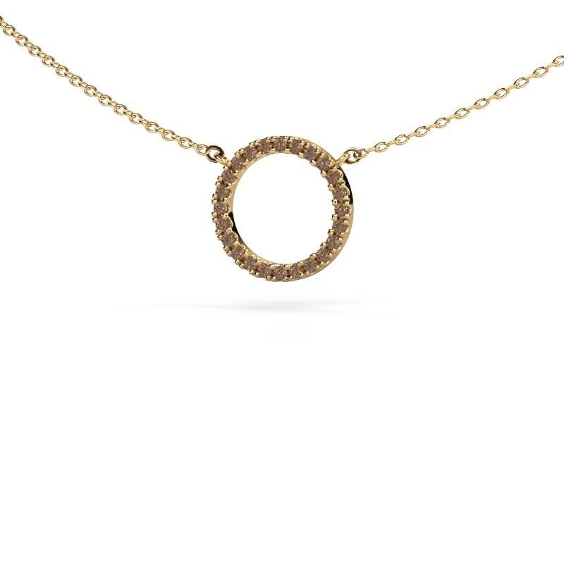 Hanger Circle 375 goud bruine diamant 0.18 crt