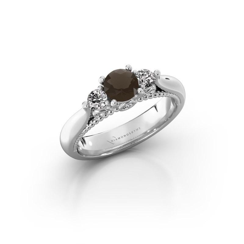 Verlovingsring Tiffani 925 zilver rookkwarts 5 mm