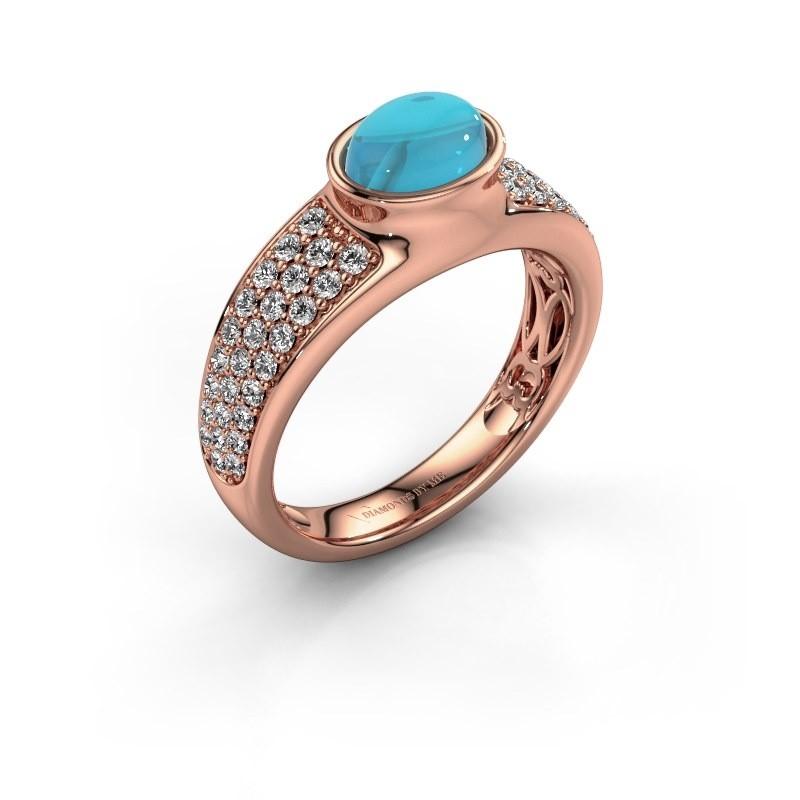 Ring Tatyana 375 rosé goud blauw topaas 7x5 mm