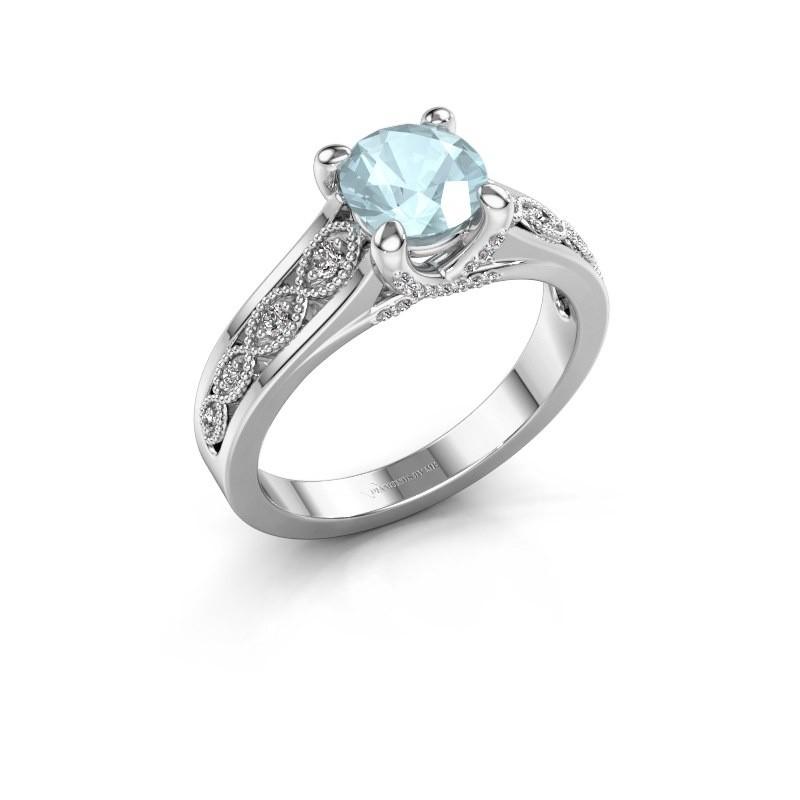Engagement ring Clarine 925 silver aquamarine 6.5 mm