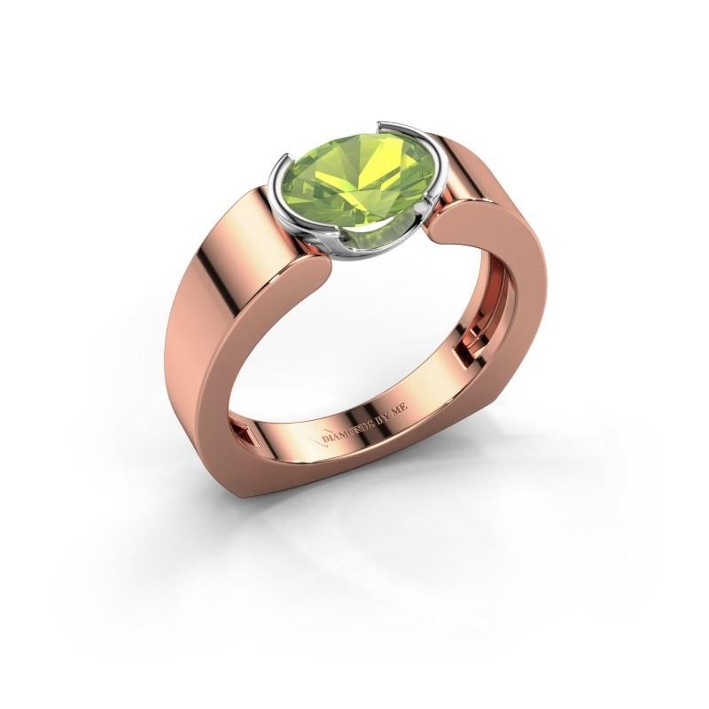 Ring Tonya 585 rosé goud peridoot 8x6 mm