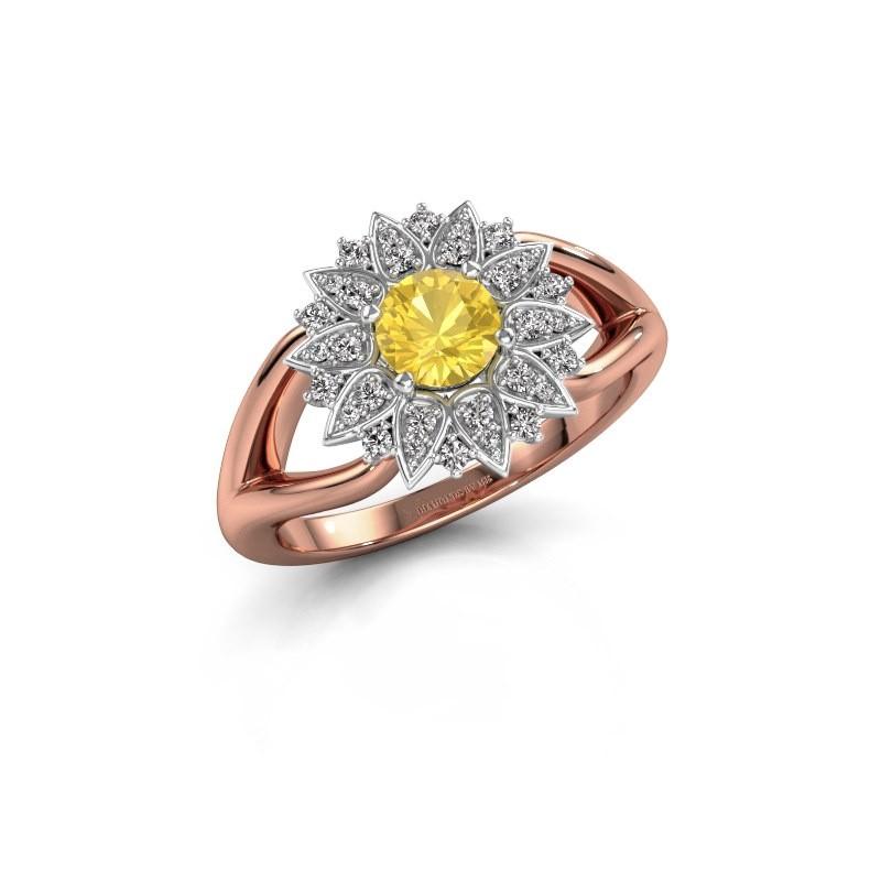 Verlovingsring Chasidy 1 585 rosé goud gele saffier 5 mm