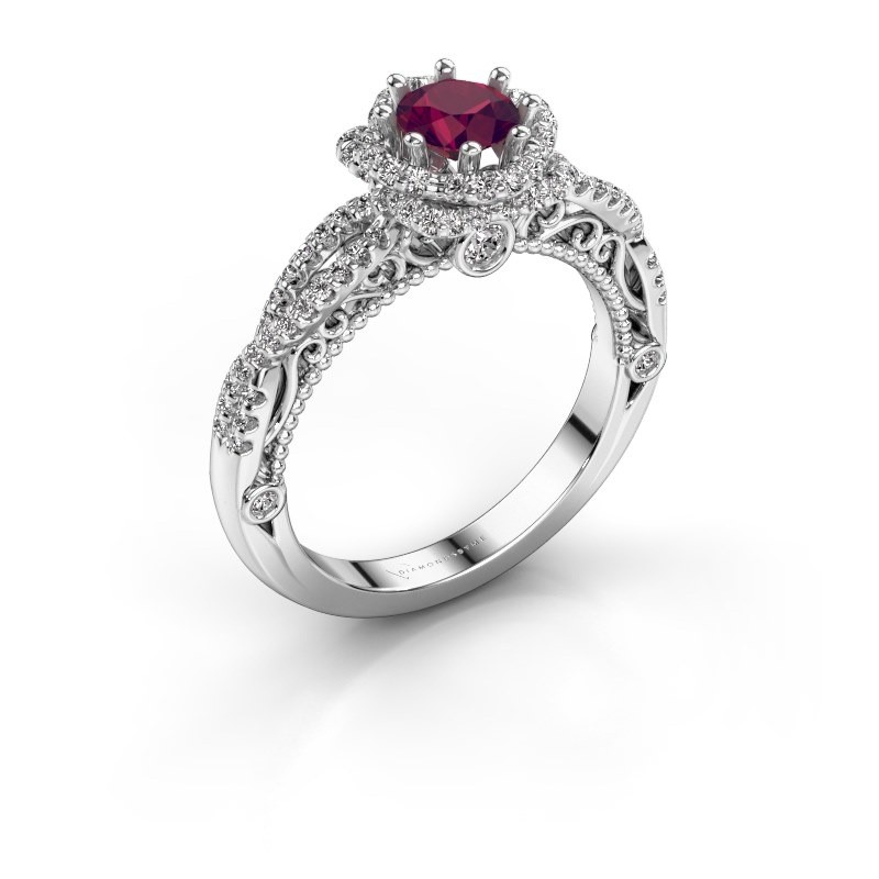 Engagement ring Lysanne 950 platinum rhodolite 5 mm