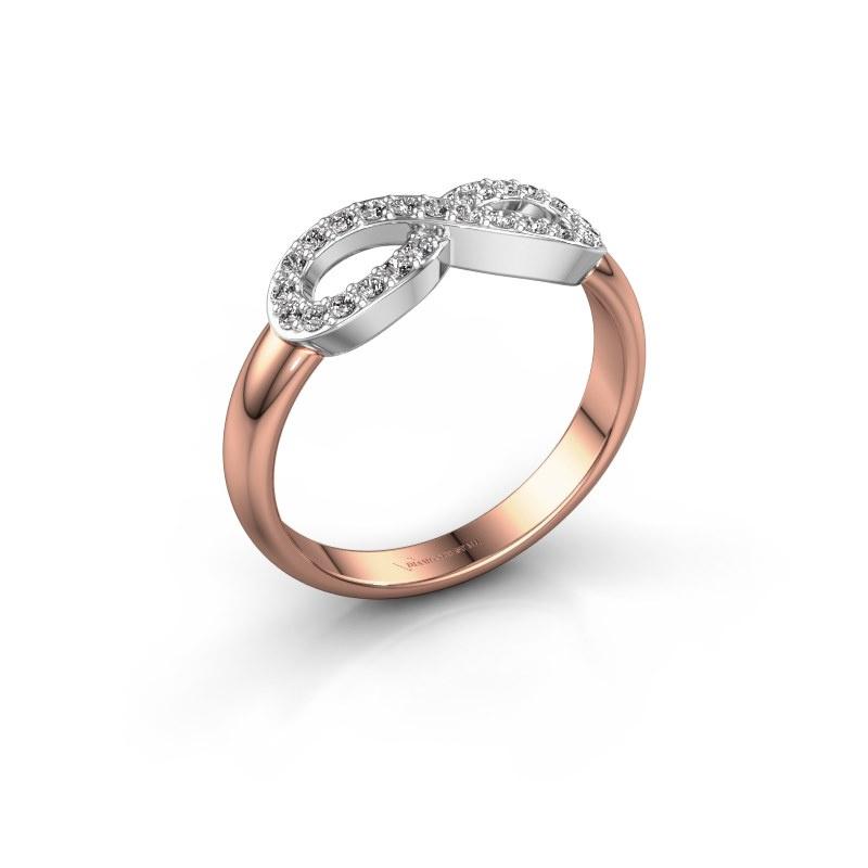 Ring Infinity 2 585 rosé goud diamant 0.188 crt