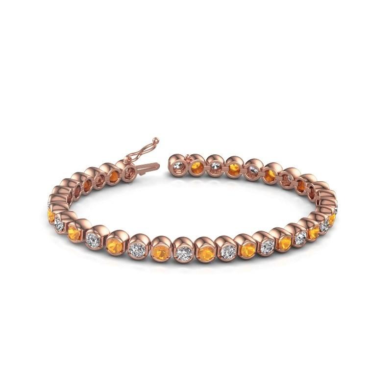 Tennis bracelet Bianca 375 rose gold citrin 4 mm