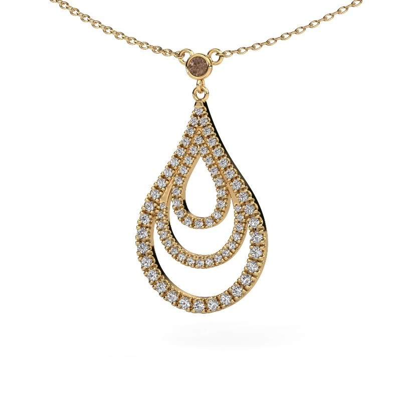 Hanger Delpha 375 goud bruine diamant 0.487 crt