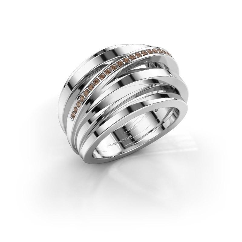 Ring Swinda 950 platina bruine diamant 0.125 crt